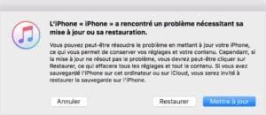 iPhone restauration mise à jour