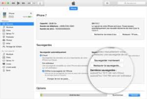 Mise à jour et sauvegarde Itunes pour iPhone